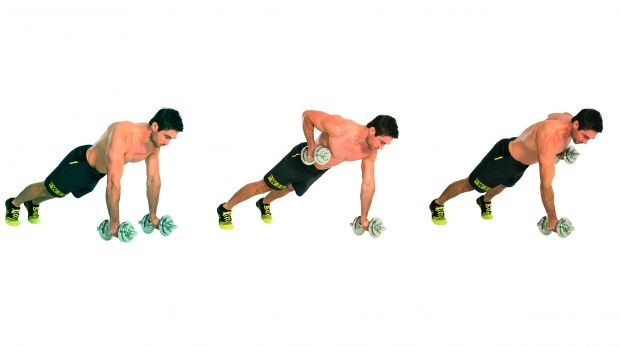 Renegade dumbbell row